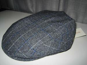 NEW STETSON driving cap Hat GREY CHEX PLAID small / medium