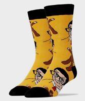 Jyinstyle Men's Combed Cotton  Mr. Bean & Teddy Crew Socks Yellow, Shoe sz 8-13