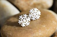 High Quality 925 Sterling Silver Snowflake Stud Earrings, Winter Jewelry