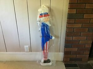 "Rare NEW 36"" Vintage Lighted Union Uncle Sam Patriotic July 4th Blow Mold"