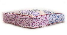 Indian Ottoman Pouf Cotton Floor Pillow Cover Square Large Seating Pillow Cover