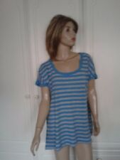 TU STRIPED TURQUOISE & GREY TOP SIZE 22