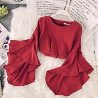 Lady Chiffon Ruffles Shirts Mandarin Sleeve Tops Retro Blouse Crew Neck Short