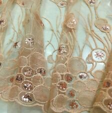 "Lace Sequin Fabric Retro Embroidery Floral Wedding Dress 51"" Width By Metre Soft"