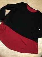 U-113~ City Chic Womens Blouse black Color Block Long Sleeve Scoop Neck Sz 18