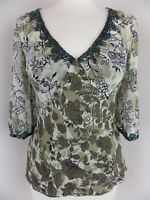 COAST lined silk top Size 10 brown khaki floral beaded 100% silk 3/4 sleeves