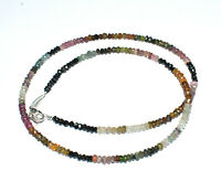 """Multi Tourmaline Gemstone 3-4 mm Rondelle Faceted Beads 20"""" Strand Necklace"""