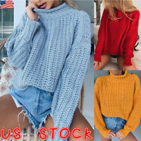 Women's High Neck Chunky Knitted Sweater Knitwear Pullover Jumper Outwear Tops