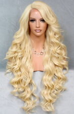 "40"" Long Lace Front Wig Full Beautiful Curly Pale Blonde  Heat OK WBPR 613"