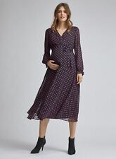 Dorothy Perkins Womens Maternity Black Spot Print Wrap Dress V-Neck Long Sleeve