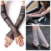 Women Shiny Lace Tulle Long Gloves Fingureless Sleeve Strentch Dual-use Stocking