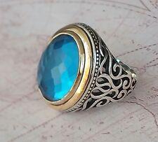 Turkish  Aquamarine Gemstone 925 Sterling Silver Mens Ring Gemstone 17.5gr