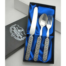 CELTIC Baby Spoon Fork Knife Cutlery Made in Ireland by Mullingar Pewter