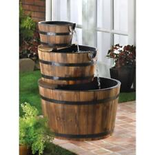 3-Tier Half Barrels Wooden Waterfall Fountain w/ Pump