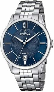 F20425/2 Festina Mens Stainless Steel Blue Round Bracelet Watch Date Feature