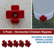 ROYAL ROOSTER Poultry Chicken Horizontal Nipple Drinker Waterer - 5 Pack