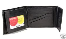 Closure New Mens Bifold Genuine Leather Wallet ID Multi Pockets Black Zipper 795