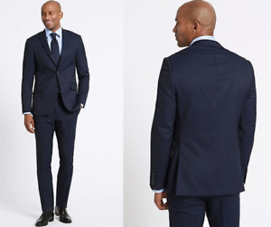 M&S COLLECTION LUXURY  Navy Striped Regular Fit Wool Suit  PRP £246
