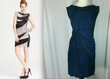 Diane von Furstenberg DVF Blue Striped Woodgrain Print Mattie Dress S 4