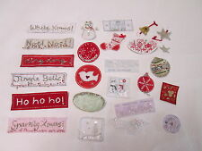 Pack of 10 Mixed Christmas Card Embroidered Motif Patch Stick Sew On Badge #2F21