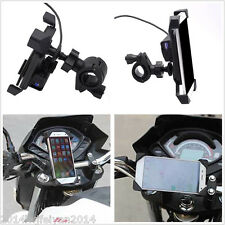 """Universal 3.5-7"""" Cell Phone GPS Mount Holder w/ USB Charger for Bike Motorcycle"""