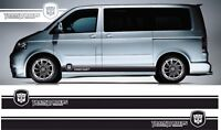 VW Transporter T5 Franjas Laterales Dub T4 Swb Pegatinas Dibujos Cualquier Color