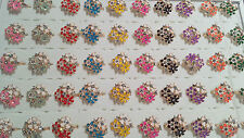 Joblot 50pcs Flower Design mix colour Diamante Fashion Rings - NEW Wholesale