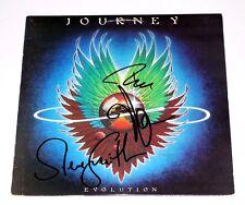 JOURNEY BAND SIGNED EVOLUTION VINYL ALBUM COVER x3 w/COA NEAL SCHON STEVE SMITH