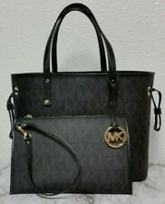 NEW AUTHENTIC MICHAEL KORS BLACK MK Gray Reversible TOTE PVC HANDBAG Mini Clutch