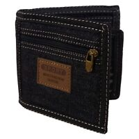 Black Denim Mens Boys Teens Kids Bi Fold Canvas Wallet Cards