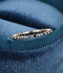 Dainty Full Eternity 0.65 Ct Round Black Diamond Wedding Ring 14K Rose Gold Over