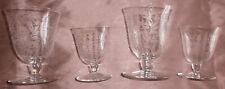 BACCARAT ARGENTINA : 4 verres en cristal gravé : 2 verre s à eau & 2 à vin rouge