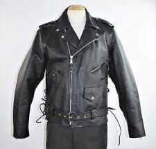 Vintage 80's Men's Black Leather Motorcycle Jacket By Leather Men - Size 46