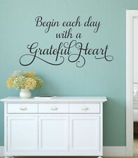 Begin Each Day With A Grateful Heart Wall Decal Vinyl Lettering Words Quote