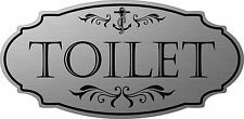 "Stainless Steel color ""Toilet"" Nautical Door Sign - Free Shipping"