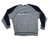 VTG FUBU Gray Fleece Pull Over Sweater Spell Out Front Rap Hip-Hop Men's XL