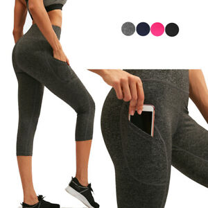 Women's 3/4 Tights 4 Way Stretch Yoga Pants for Workout Gym Running with Pockets