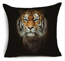 Cushion Pillow Cover Blue Eyed Tiger Face On Black Richmond Silky Polyester