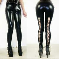 Sexy Women's Faux Leather Leggings Lace up Gothic Goth Punk Pants Wet look SH208