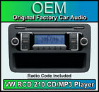 VW Interruptor 210 CD MP3 Player, CADDY radio de coche UNIDAD CENTRAL CON muñeca