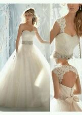 UK ivory Lace Detachable Sleeves A line Wedding Dresses Bridal Gown Size 10 or 8
