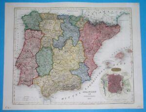 1847 RARE ORIGINAL MAP SPAIN PORTUGAL CATALONIA CASTILLA VALENCIA MADRID LISBON