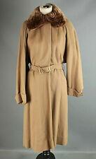 VTG Women's 40s Tan Fur Collar Wool Coat Sz S #2634 1940s