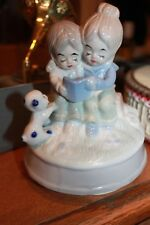 """Vintage """"Close To You"""" Music Box glazed glass mom girl puppy reading book"""
