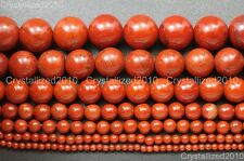 3MM-4MM RED CORAL GEMSTONE RED FACETED ROUND PEBBLE 3MM-4MM LOOSE BEADS 16/""