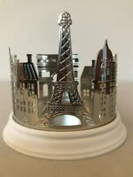 Bath & Body Works Streets of Paris 3 Wick Candle Holder Silver Tone Resin NEW