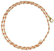 """Rosary Beads Shampion Zircon 3 mm Gold Plated Wire Faceted Neckalce 18"""" Strand 4"""