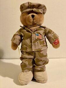 "GI Hero Military Soldier Bear Plush Sings ""God Bless The USA"" FLAG LIGHTS UP!"