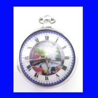 Napoleonic Silver Fusee Verge  Polychrome  Enamel Pair Case Pocket Watch, 1811