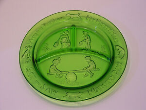 Vintage glass nursery rhyme green divided plate with hanger